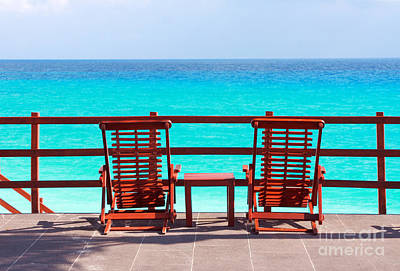 Photograph - Beach Chairs by Charline Xia
