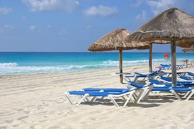 Beach Chairs In Cancun Art Print