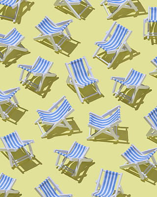 Lounge Chair Digital Art - Beach Chairs On Yellow Ground, 3d by Westend61