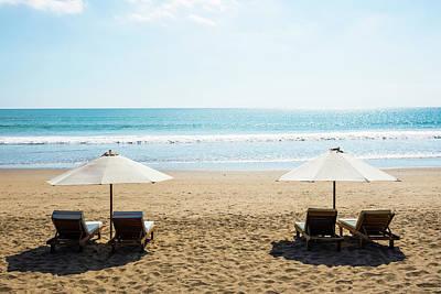 Lounge Chair Photograph - Beach Chairs, Seminyak Beach, Bali by John Harper