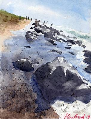 Mexico People Painting - Beach Combers by Max Good
