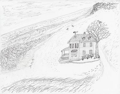 Drawing - Beach Cottage by Jim Taylor