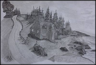 Beach Landscape Drawing - Beach Cottage by Tony Clark