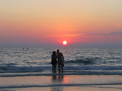 Photograph - Beach Couple Clearwater Sunset by RobLew Photography