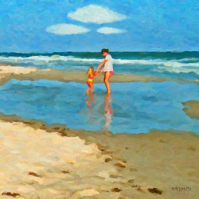 Little Girl Mixed Media - Beach Dance - Woman And Little Girl by Rebecca Korpita