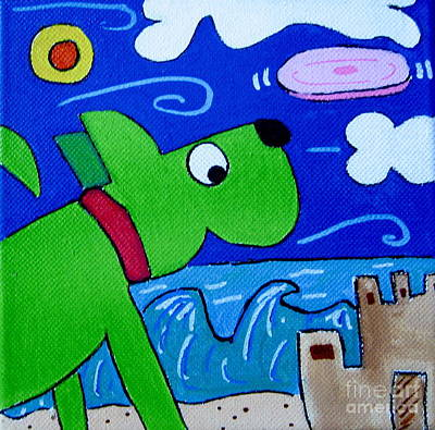 Beach Dog Art Print by Susan Sorrell