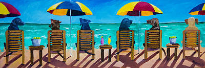 Animals Paintings - Beach Dogs by Roger Wedegis