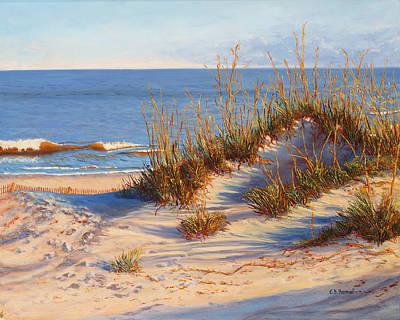 Fencing Painting - Beach Dune, Atlantic Ocean Beach by Elaine Farmer