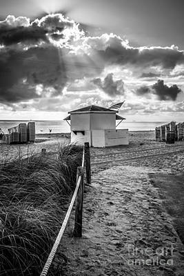 First Star Photograph - Beach Entrance To Old Glory - Black And White by Ian Monk