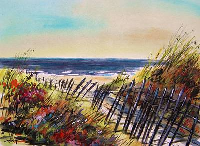 Watercolor On Paper Drawing - Beach Entry by John Williams