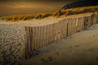 Beach Fence At Sunset Art Print