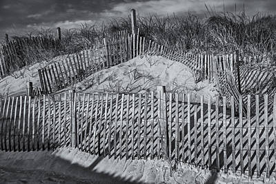 Beach Fence Bw Art Print by Susan Candelario