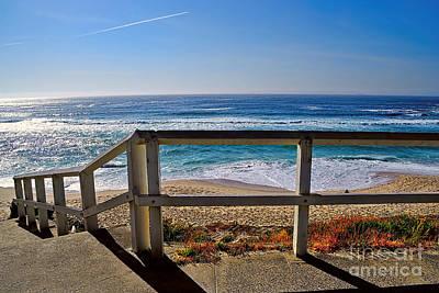 Beach Fence Ocean View By Kaye Menner Art Print by Kaye Menner