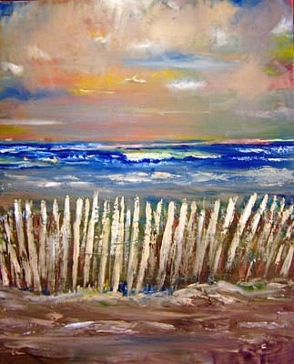 Brilliant Sky Painting - Beach Fence by Patricia Taylor