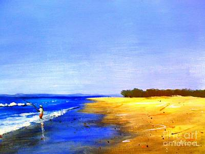 Beach Painting - Beach Fishing - Original Sold by Therese Alcorn