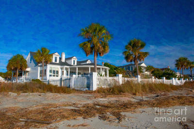 Beach Front Homes Art Print by Dale Powell
