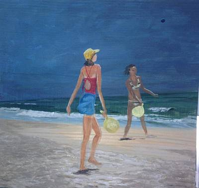 Kids Playing In Sand Painting - Beach Games by Donna Rollins