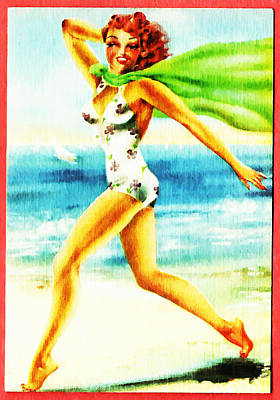60s Drawing - Beach Girl by Bill Cannon