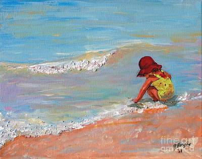 Art Print featuring the painting Beach Girl In Red Hat by Jeanne Forsythe