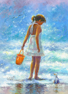 Beach Girl Art Print by Vickie Wade