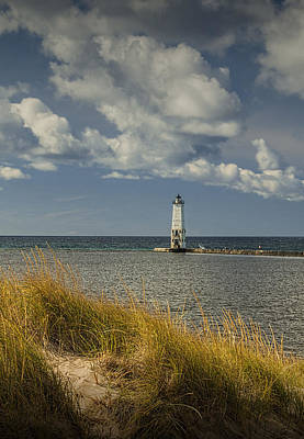 Photograph - Beach Grass Dune And The Frankfort Lighthouse On Lake Michigan by Randall Nyhof