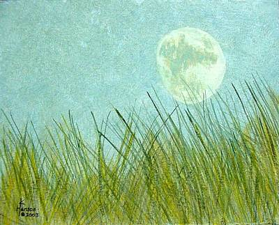 Art Print featuring the mixed media Beach Grass With Moon by Kenny Henson