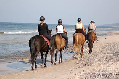 Horseback Photograph - Beach Horse-riding by Michal Bednarek