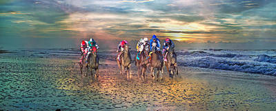 Race Horse Digital Art - Beach Horses II by Betsy Knapp
