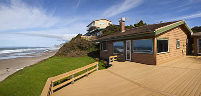 Beach House Panorama Lincoln City Oregon. Art Print by Gino Rigucci