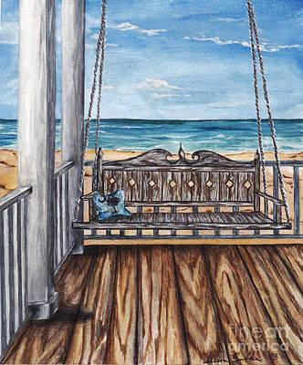 Beach House Patio Art Print by Sheena Pape