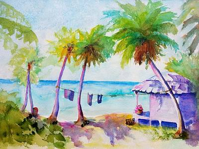 Painting - Beach House Tropical Paradise by Carlin Blahnik CarlinArtWatercolor