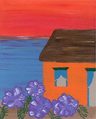 Beach House With Sunset Original