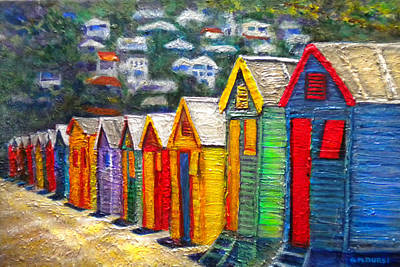 Impressionistic Beach Painting - Beach Houses At Fish Hoek by Michael Durst