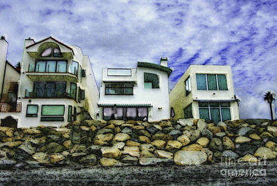 Digital Art - Beach Houses In Oceanside by Rhonda Strickland