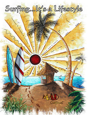 Beach Hut Surfing Surfboards Coastal Tropical Art Painting It's A Beach Life By Mad Outfitters Original by MAD Outfitters