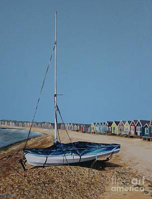 Painting - Beach Huts And Boat On The Spit by Linda Monk