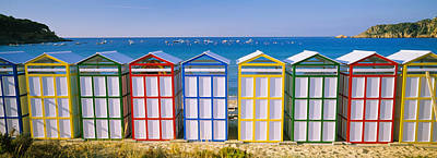 Beach Huts In A Row On The Beach Art Print by Panoramic Images