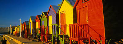 In A Row Photograph - Beach Huts In A Row, St James, Cape by Panoramic Images