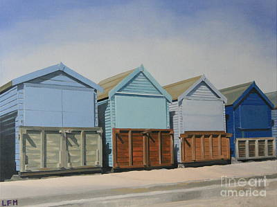 Painting - Beach Huts On Promenade by Linda Monk