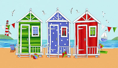 Beach Huts Print by Peter Adderley