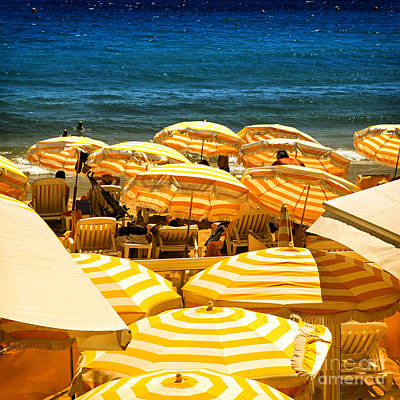 Seashore Photograph - Beach In Cannes  by Elena Elisseeva