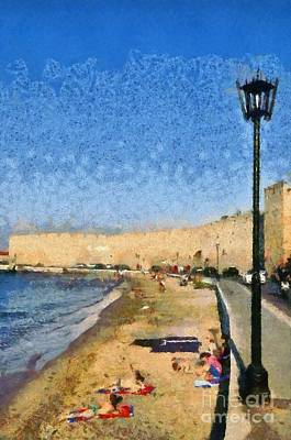 Painting - Beach In Front Of The Old City Of Rhodes by George Atsametakis