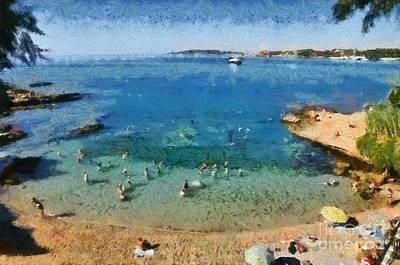Swimming Painting - Beach In Vouliagmeni by George Atsametakis