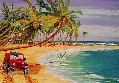 Beach Jeepin' Art Print