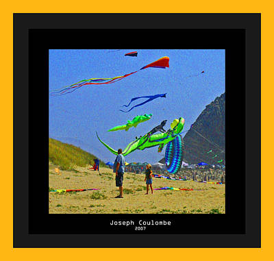Digital Art - Beach Kids 4 Kites by Joseph Coulombe