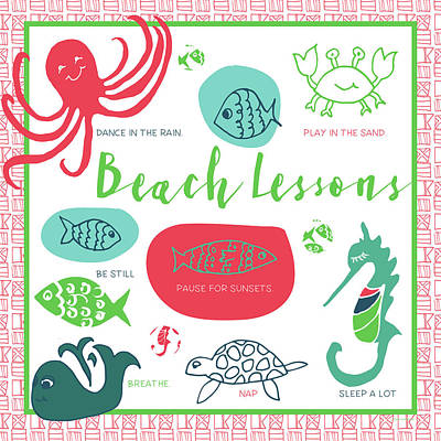 Coastal Quote Wall Art - Painting - Beach Lessons by Pamela J. Wingard