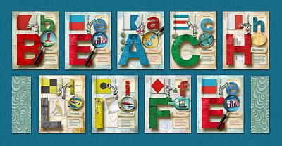 Phonetic Digital Art - Beach Life by Vanessa Bates
