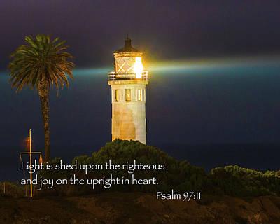 Bible Verse Photograph - Beach Lighthouse Inspirational Bible Scripture Passages Fine Art Original Photography by Jerry Cowart
