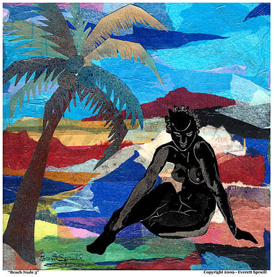 Budda Mixed Media - Beach Nude 3 by Everett Spruill