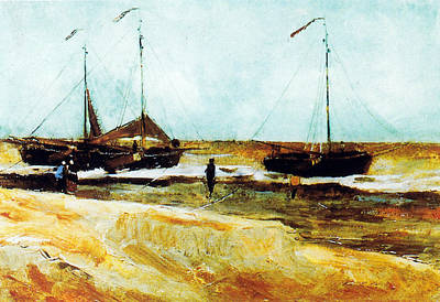 Digital Art - Beach Of Scheveningen In Calm Weather by Vincent Van Gogh